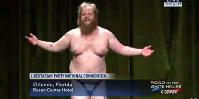Libertarian Party Chairman Hopeful Strips on Stage, Live