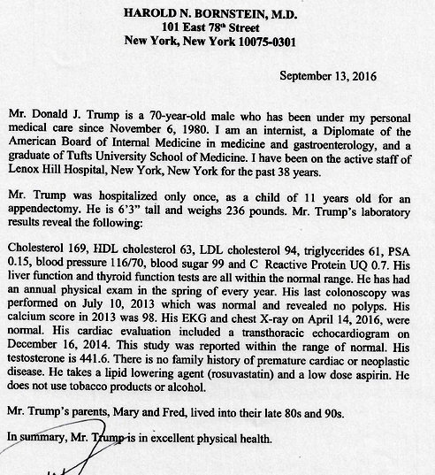 Trump Releases Doctor's Letter With Statement Mocking Hillary's ...