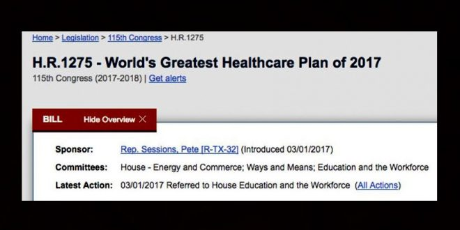 Gop Lawmaker Introduces Obamacare Replacement Bill Titled World S