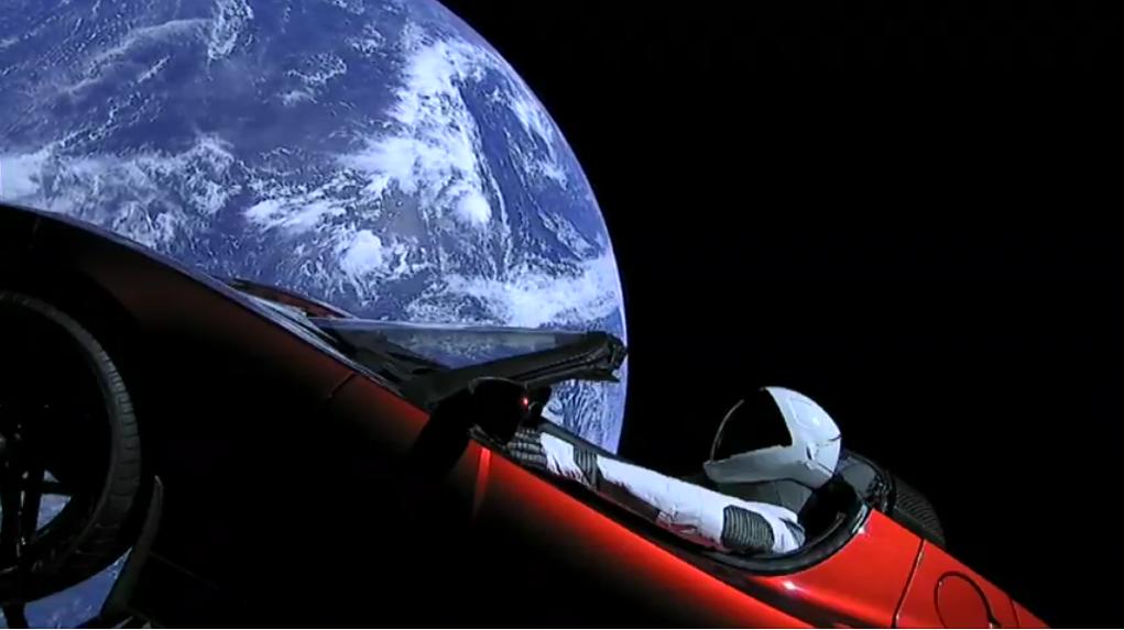 live wtf video starman drives tesla in space joe my god. Black Bedroom Furniture Sets. Home Design Ideas