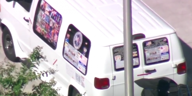 Image result for bomber van covered with pro trump stickers photo