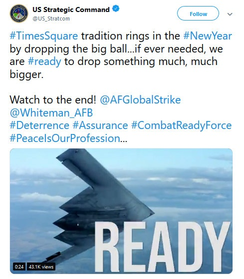 US Strategic Command Tweets Nuclear War Joke For NYE: We're Also