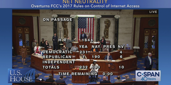House Votes 232-190 To Restore Net Neutrality Rules, Mcconnell